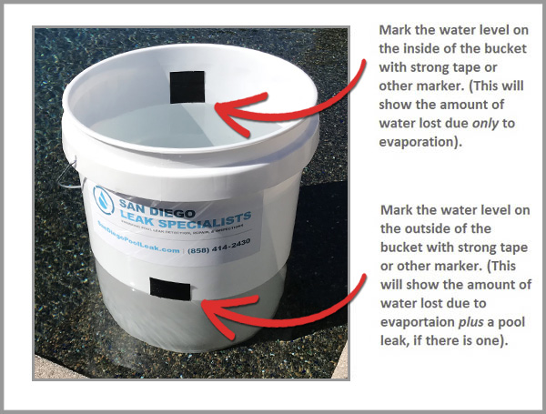 Bucket test san diego swimming pool leak detection and - Swimming pool leak detection and repair ...